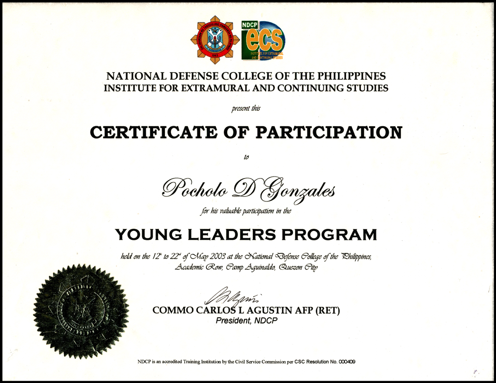 Certificates certificate of appreciation organizer national defense college of the philippines institute for intramural and continuing studies yadclub Gallery